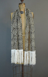 Vintage Black & White Sheer Fringed Shawl, Long Narrow Scarf