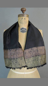 Vintage Scarf Black Taffeta with Gold & Copper Stripes, 38x8 inches oblong, Fringe