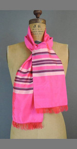 Vintage Scarf Hot Pink Silk with Stripes & Fringe, Oblong 53x6 inches