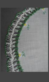 Vintage Round Hankie 1950s Green Crochet & Embroidered Daisies