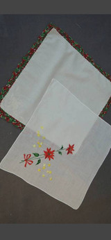 2 Vintage Christmas Hankies 1950s Crochet & Embroidered Poinsettias