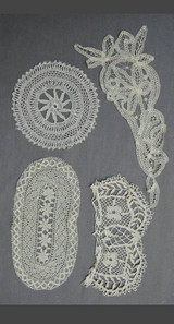 4 Handmade Lace Antique Lace Pieces, Edwardian 1900s Bobbin Lace