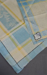 Vintage Blue & Yellow Damask Tablecloth + 6 Napkins Set, Unused 1940s Kitchen Linens Czechoslovakia