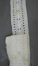 Vintage Embroidered Lace Dress Trim, 3-3/8 yards Edwardian 1900s White Cotton Eyelet