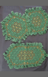 3 Vintage Handmade Green Doilies Knotted & Embroidered, 1940s