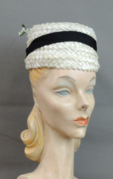 Vintage White Floral Straw Hat with Black Ribbon, fits 21 inch head 1960s