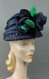 Vintage Navy Straw Floral Hat, Big & Dramatic 1960s by Stan-Lee fits 21 inch head