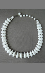 Vintage White Glass Necklace with Rhinestones, Germany 1930s 1940s, 15 inches