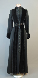 Amazing Victorian Coat, XS 1800s Long Black Wool Coat, with issues
