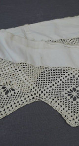 Antique Crochet Lace Trim, Victorian Remnant, Handmade 1800s