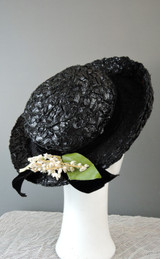 Vintage 1950s 'Miss Alice' Black Straw Hat with Lily of the Valley Flowers, 21 inch head