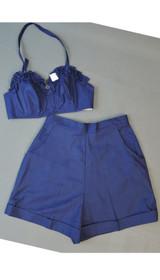 Vintage 1950s Shorts & Bra Top Playset, Beach Set, Navy Cotton, 34B