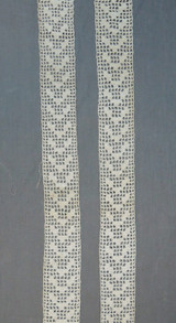 2 Antique Crochet Lace Trim Pieces, Handmade 20 inches long, Edwardian Lingerie Blouse Dress