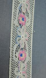 Vintage Embroidered Lace Trim, Pink & Blue Floral, 1930s 1940s Remnant