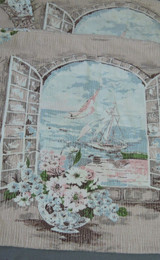 4 Vintage Barkcloth Pillow Covers, Beach Sailboat, 1960s Floral