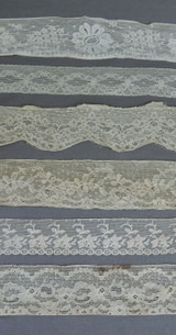 6 Pieces Vintage Lace Trim Remnants, Antique to 1950s Lingerie Dress Trims