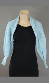 Vintage 1940s Blue Knit Shrug Sweater, Fits small size