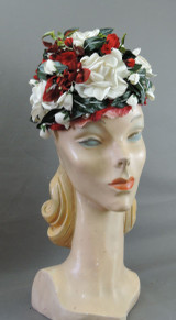 Vintage Red & White Floral Hat, Amy New York, 21 inch head, 1960s
