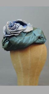 Vintage Pierre Cardin Hat, Blue Floral Silk, 1960s, Damaged As Is