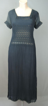 Vintage Sheer Black Dress, 1980s Eastern Style Chiffon & Lace with Split sides, 34 inch bust