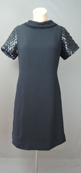 Vintage 1960s Black Dress with Sequin Sleeves & Bow on the Back, 36 bust