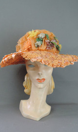 Vintage Peach Floral Wide Brim Hat, 1960s Straw & Chiffon Summer, fits 21 inch head