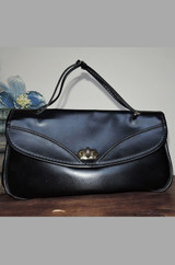 Vintage 1960s Anita's Small Black Vinyl Purse