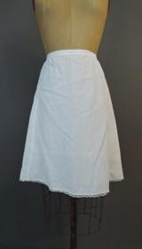 Vintage White Petticoat Slip, Edwardian 1910s Short, fits 32 inch waist