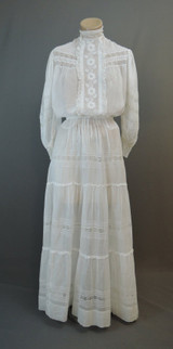 Edwardian Lace Blouse & Skirt, 2 Piece Dress Antique Sheer White Cotton 1900s, 34 bust, 24 inch waist