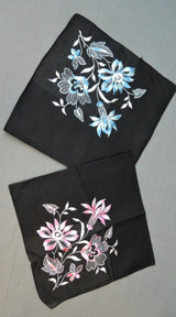 2 Vintage Black Hankies with Floral Embroidery, Pink & Blue, unused 1950s 1960s