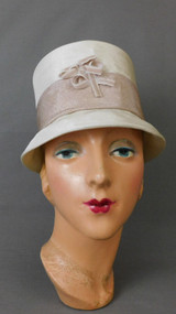 Vintage Ivory & Tan Hat, 1960s Tall Straw Fabric, fits 21 to 22 inch head