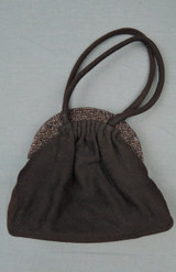 Vintage 1940s Beaded Wool Purse, Brown Evening Bag, with issues