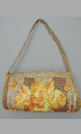 Vintage 1970s Large Souvenir Straw Purse with Raffia Embroidery