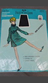 Vintage Stockings size 9 - 11, Navy Seamless Stretch, Sheer Heel, Unworn in package Fruit of the Loom