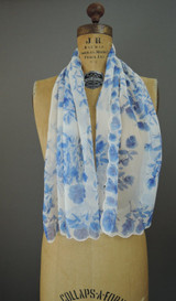 Vintage Blue Floral Scarf Silk Chiffon Long 44x16 inches, Neck or Head