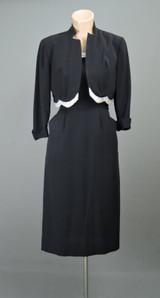 Vintage 1950s Black Dress & Jacket, Beaded Evening Cocktail, fits 33 inch bust