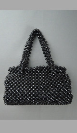 Vintage Black Plastic Beaded Purse, 9x4 inches 1960s Walborg