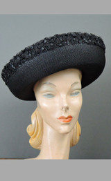 Vintage Black Straw Hat with Curled Brim, 1960s fits 21 inch head, Marche Exclusive