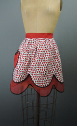 Vintage Apron Cherries & Ladybugs, 1950s Red Reversable Organdy, Novelty Print