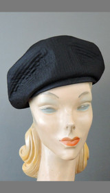 Vintage Black Fabric Hat 1960s by Lora with Gold Button, fits 22 inch head