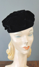 Vintage Black Velvet Hat with Loops, fits 21 inches head 1960s