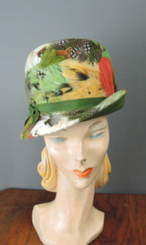 Vintage 1960s Feather Hat with Bent Brim, Mister T, fits 21 inch head