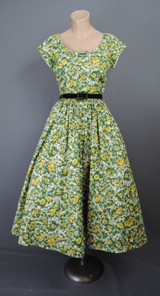 Vintage 1950s Floral Dress Yellow 35 inch bust, Jerry Gilden Spectator