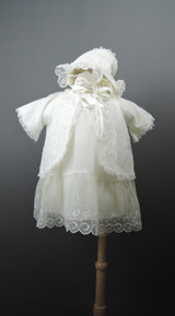 Vintage Chiffon Baby Infant Dress, 5 piece  Set with Slip, Jacket, panties and hat 1950s