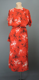 Vintage 1940s Red Rayon Dress, Novelty Print, fits 36 inch bust Buttons & Drape
