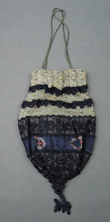 Antique 1920s Purse Metallic Embroidered Tulle with Navy Floral Trim Drawstring