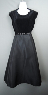 Vintage 1950s Black Dress, Velvet & Taffeta, XS 32 bust Junior Size, Evening, Party