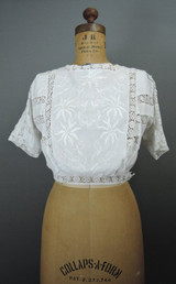 Vintage Edwardian Blouse, 32 bust, Embroidered White Cotton Lace, Antique 1900s