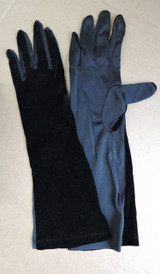 Vintage 1960s  Long Black Velvet and Nylon Gloves, 15 inches long, size 7 to 7-1/2