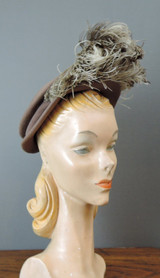 Vintage 1940s Feather Tilt Hat, Brown Felt Topper
